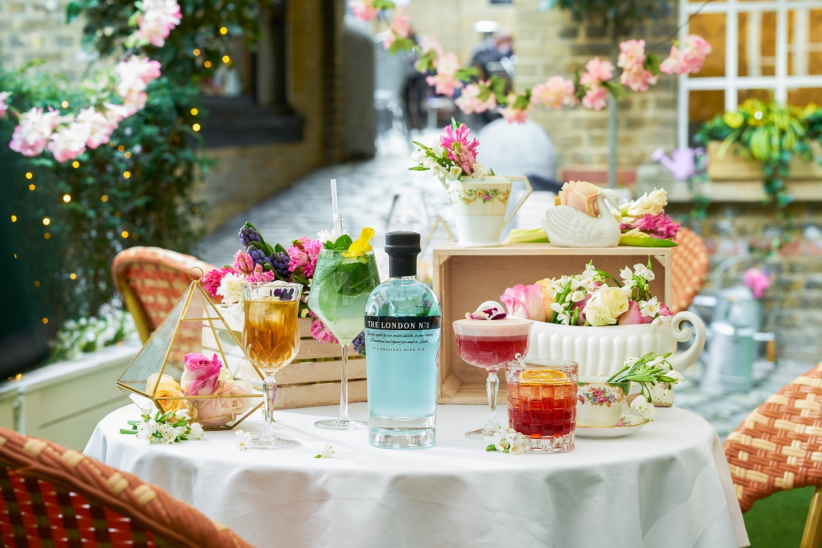 The Hush Courtyard, Mayfair and the London in Blossom cocktail made with London No. 1 Gin